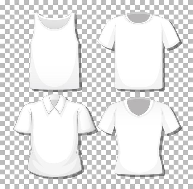 Zbiór różnych białych koszul na białym tle