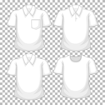 Zbiór różnych białych koszul na przezroczystym tle