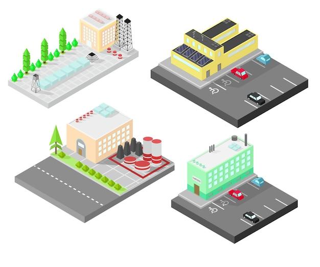 Zbiór różnych budynków izometrycznych