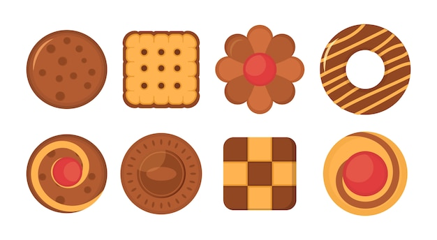 Zbiór różnych czekoladowe i biszkoptowe ciasteczka, pierniki i wafle na białym tle. zestaw ikon ciasteczka biszkoptowe chleb. duży zestaw różnych kolorowych ciastek. ilustracja.