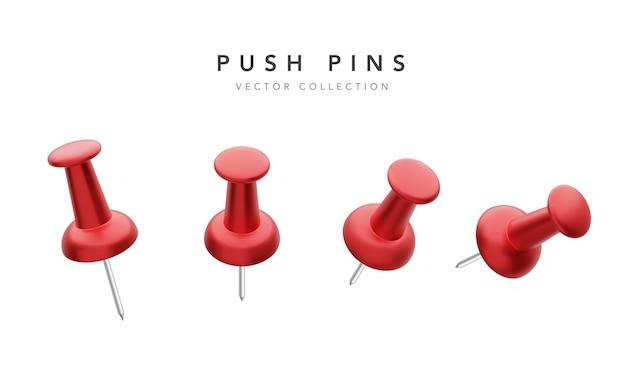 Zbiór różnych czerwonych szpilek push na białym tle