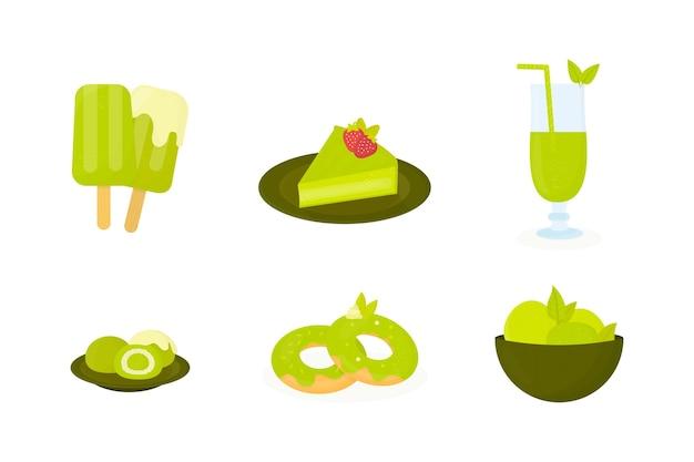 Zbiór różnych deserów matcha