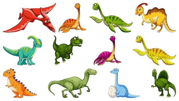 Zbiór różnych dinozaurów postać z kreskówki na białym tle