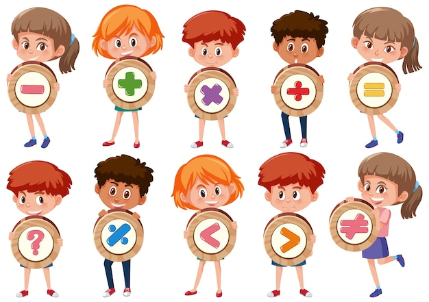 Zbiór różnych dzieci posiadających podstawowy symbol matematyczny lub znak postaci z kreskówek na białym tle