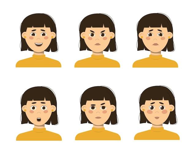 Zbiór różnych emocji dziewczyny