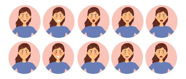 Zbiór różnych emocji kobiecych postaci