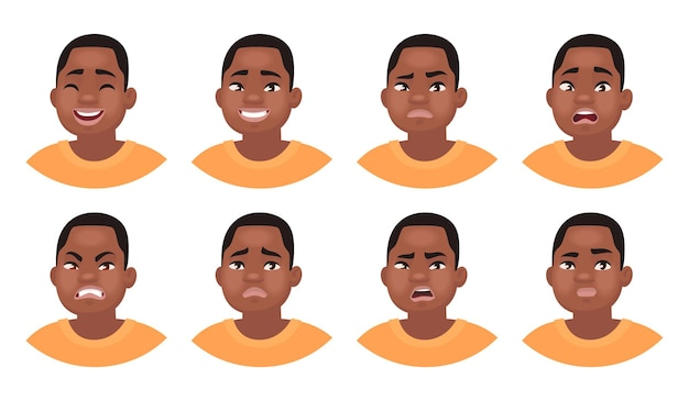 Zbiór różnych emocji męskiej postaci. afroamerykanin emoji człowieka z różnymi wyrazami twarzy. w stylu kreskówki