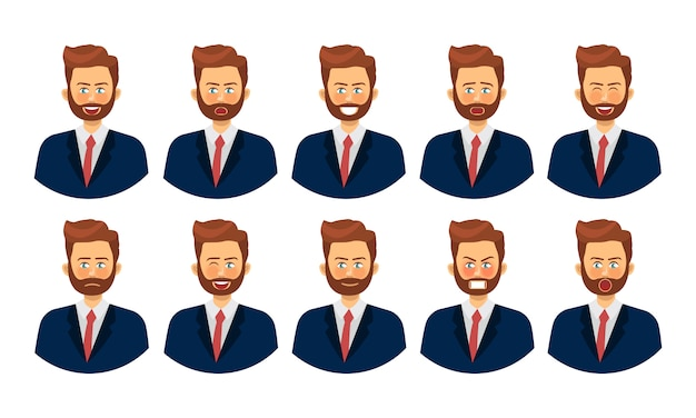 Zbiór różnych emocji męskiej postaci. emoji z różnymi wyrazami twarzy.