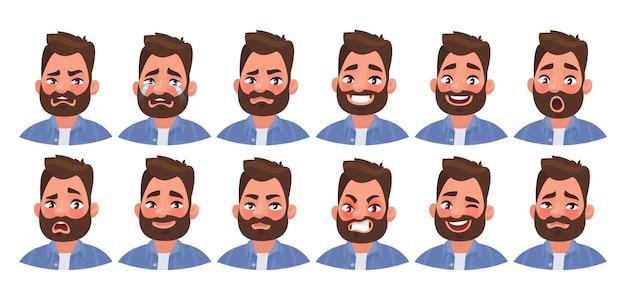 Zbiór różnych emocji męskiej postaci. przystojny mężczyzna emoji z różnymi wyrazami twarzy. w stylu kreskówki