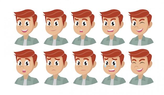 Zbiór różnych emocji męskiej postaci.