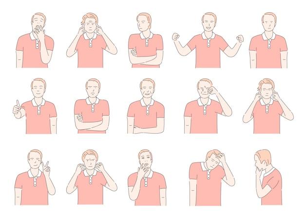 Zbiór różnych emocji twarzy. męski portret z pozytywną i negatywną wyrażenie kreskówki konturu ilustracją.