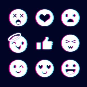 Zbiór różnych emotikonów glitch