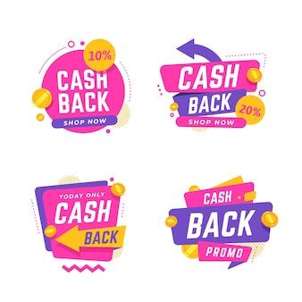 Zbiór różnych etykiet cashback