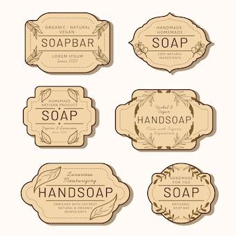 Zbiór różnych etykiet mydła