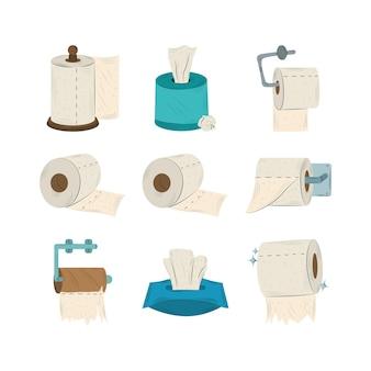Zbiór różnych grup ilustracji rolek papieru toaletowego
