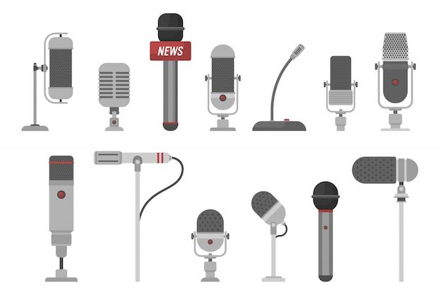 Zbiór różnych ilustracji mikrofonów na białym tle