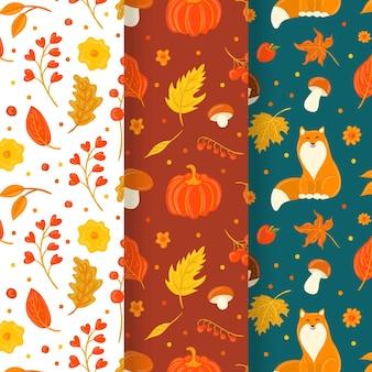 Zbiór różnych jesiennych wzorów
