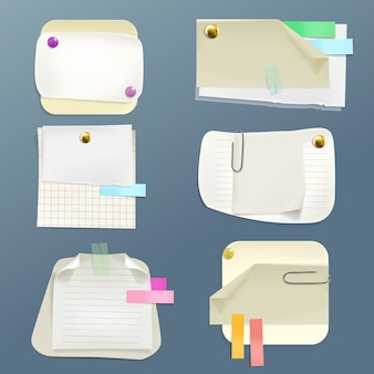 Zbiór różnych karteczek z pinami i klipsami. taśma samoprzylepna i czysta podszewka, sprawdzian