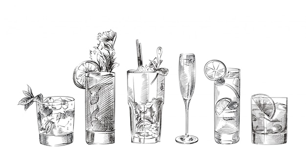 Zbiór różnych koktajli, napojów ręcznie rysowane szkice
