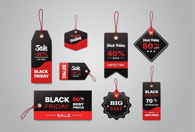 Zbiór różnych kolekcji metek i etykiet z ceną sprzedaży w czarny piątek