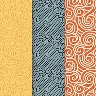 Zbiór różnych kolorowych wzorów zaokrąglonych linii