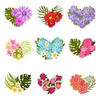 Zbiór różnych kompozycji kwiatów i liści.