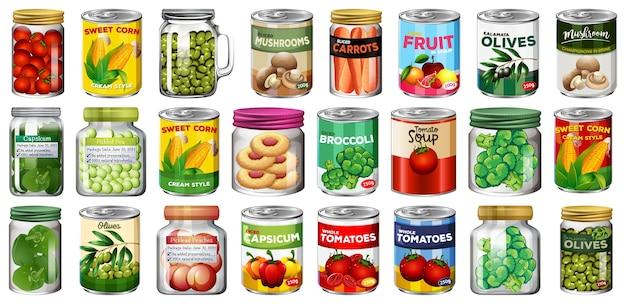 Zbiór różnych konserw i żywności w słoikach na białym tle