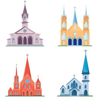Zbiór różnych kościołów katolickich. obiekty architektury w stylu kreskówki.