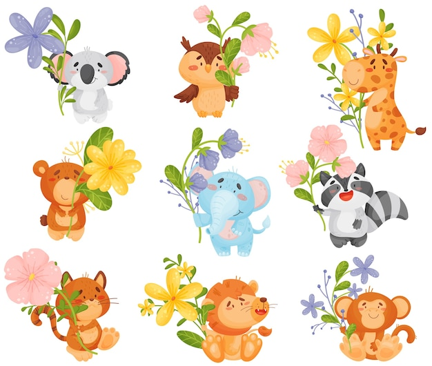 Zbiór różnych kreskówek zwierząt z kwiatami