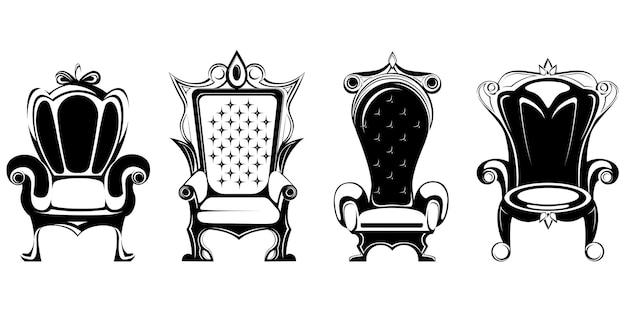 Zbiór różnych królewskich tronów na białym tle