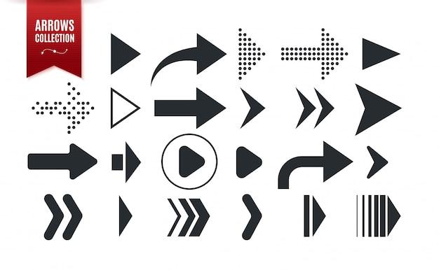 Zbiór różnych kształtów strzałek. zestaw ikon strzałki na białym tle