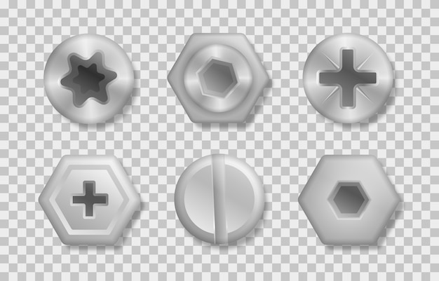 Zbiór różnych łbów śrub, wkrętów, gwoździ, nitów. zestaw metalicznych błyszczących śrub i wkrętów do wykorzystania w twoich projektach. widok z góry. elementy dekoracyjne do twojego projektu.
