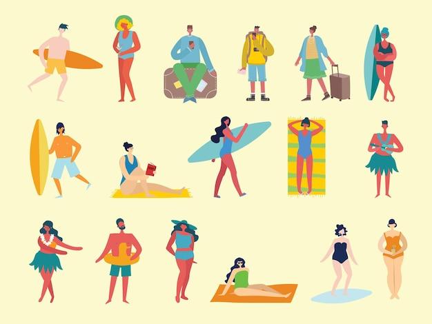 Zbiór różnych letnich ludzi podróżujących w płaskim stylu