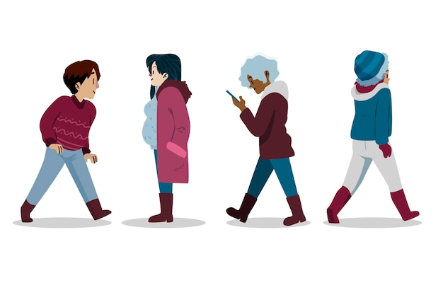 Zbiór różnych ludzi w przytulnych ubraniach zimą