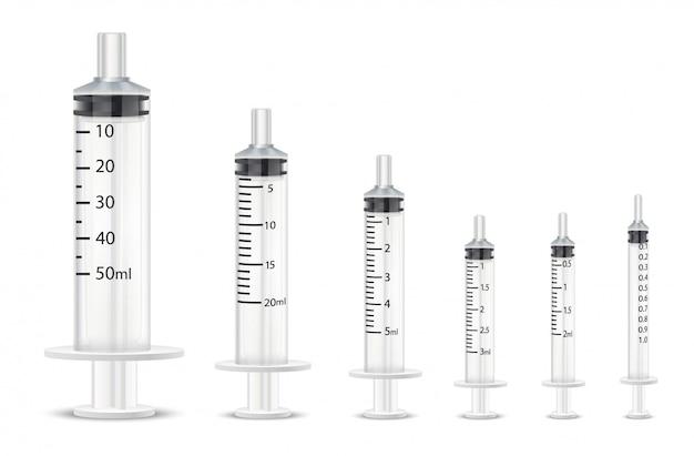 Zbiór różnych medycznych strzykawek do szczepionek.