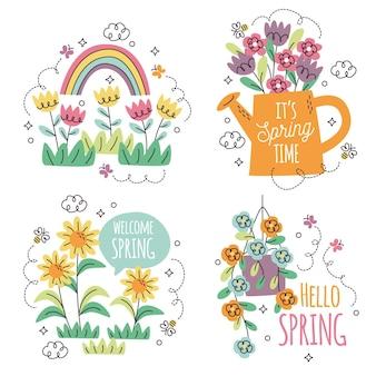 Zbiór różnych naklejek kwiatowych