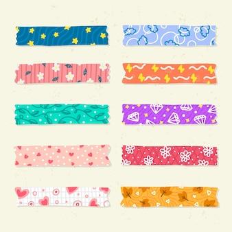 Zbiór różnych narysowanych taśm washi