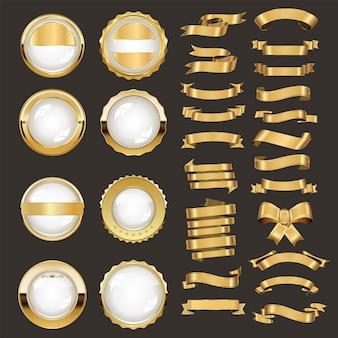 Zbiór różnych odznak i etykiet ze złotymi wstążkami
