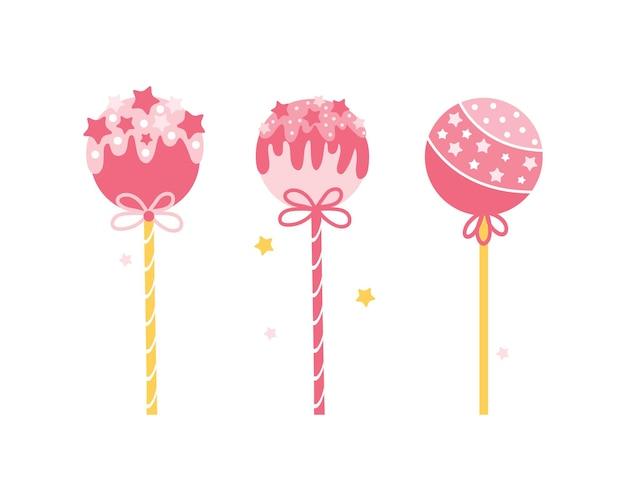 Zbiór różnych okrągłych różowych lizaków na białym tle. ciasto wyskakuje na patyczku z posypką. cukierki w stylu cartoon.