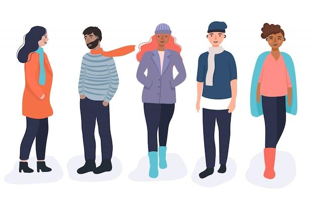 Zbiór różnych osób noszących ubrania jesienią