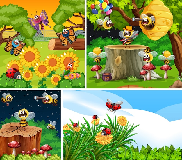 Zbiór różnych owadów żyjących w tle ogrodu