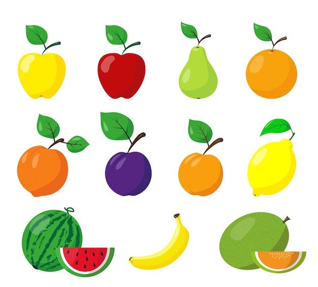 Zbiór różnych owoców. ikony owoców na białym tle. ilustracja.