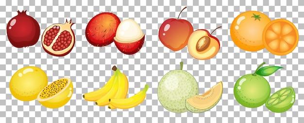 Zbiór różnych owoców na białym tle