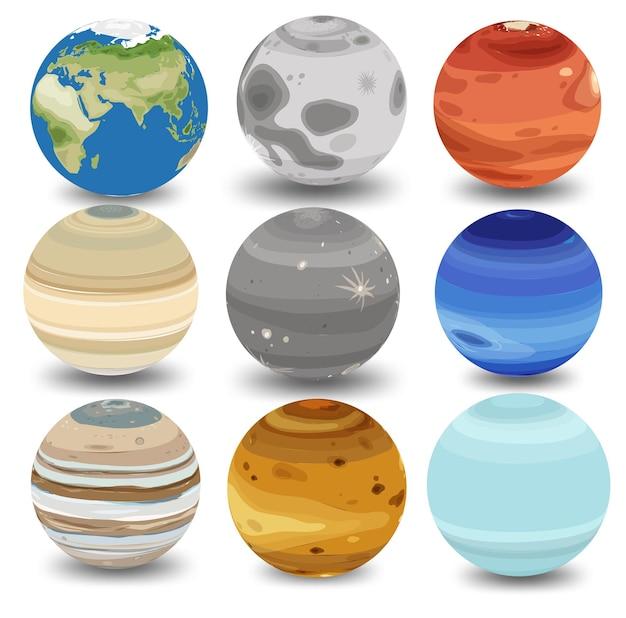 Zbiór różnych planet na białym tle