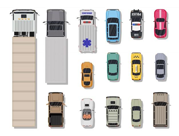 Zbiór różnych pojazdów. widok z góry.