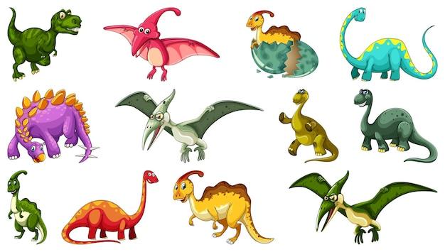 Zbiór różnych postaci z kreskówek dinozaurów na białym tle
