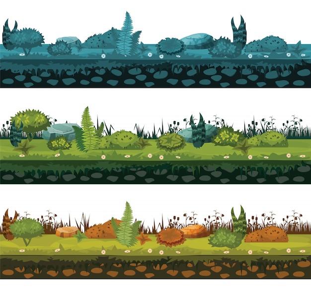 Zbiór różnych rodzajów gleb i gruntów z różnymi typami roślinności