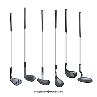 Zbiór różnych rodzajów kijów golfowych