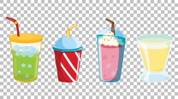 Zbiór różnych rodzajów napojów bezalkoholowych lub słodkich na przezroczystym tle