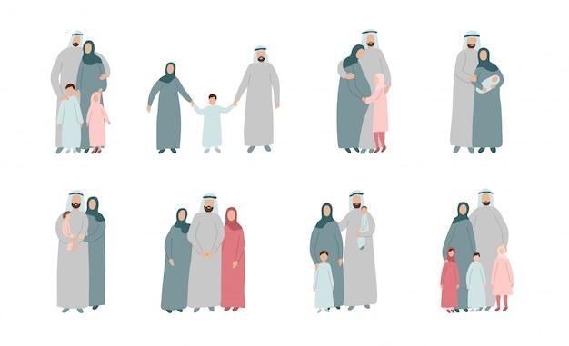 Zbiór różnych rodzin muzułmańskich. arabscy rodzice z dziećmi w tradycyjnych islamskich ubraniach. postaci z kreskówek na białym tle